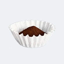 Coffee grounds and coffee filter