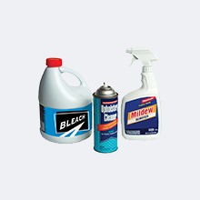 Bleach, aerosol can and spray cleaner