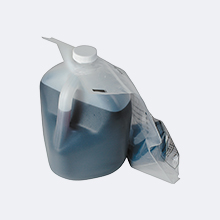 Used motor oil in plastic jug; used oil filter sealed in plastic bag