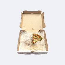 Pizza box with pizza scraps