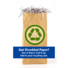 Paper bag of shredded paper; ready for recycling cart
